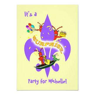 Cumpleaños de la sorpresa de la flor de lis de los invitación 12,7 x 17,8 cm