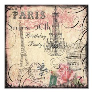 Cumpleaños de la sorpresa de la torre Eiffel y de Invitación 13,3 Cm X 13,3cm