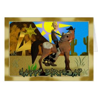 Cumpleaños de la tarjeta del vaquero del feliz cum