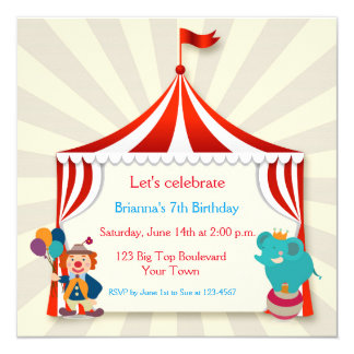 Cumpleaños de la tienda de circo invitación 13,3 cm x 13,3cm