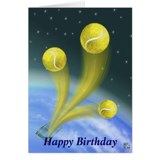Cumpleaños de la victoria del tenis feliz tarjeta de felicitación