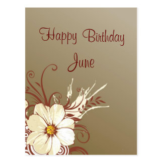 Cumpleaños de la voluta de la flor feliz postal