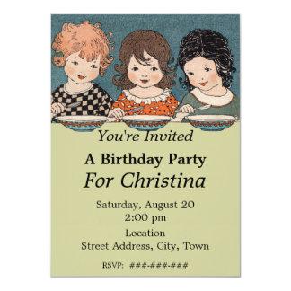 Cumpleaños de las hermanas de las niñas tres del invitación 11,4 x 15,8 cm
