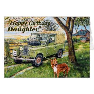 Cumpleaños de las hijas del vehículo de 4x4 de la tarjeta de felicitación