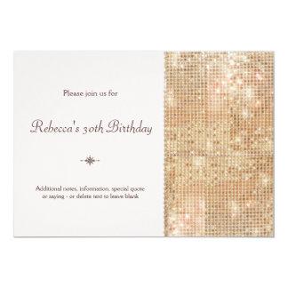 Cumpleaños de las lentejuelas del oro el trigésimo invitación 12,7 x 17,8 cm