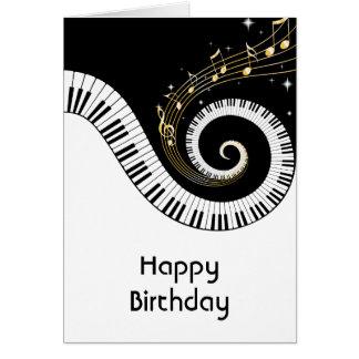 Cumpleaños de las llaves del piano y de las notas tarjeta de felicitación