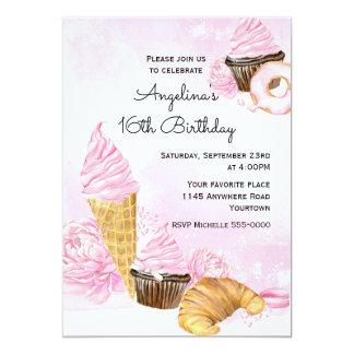 Cumpleaños de las magdalenas y del helado invitación 12,7 x 17,8 cm