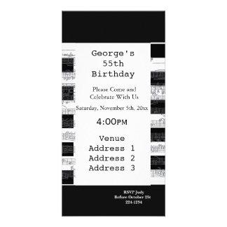 Cumpleaños de las notas musicales tarjeta fotográfica