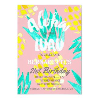 Cumpleaños de las piñas de la hawaiana del fiesta invitación 12,7 x 17,8 cm