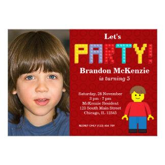 Cumpleaños de los bloques huecos invitación personalizada