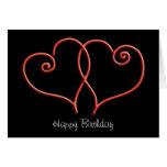 Cumpleaños de los corazones del remolino del rojo  felicitación