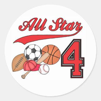 Cumpleaños de los deportes de All Star 4to Pegatina Redonda