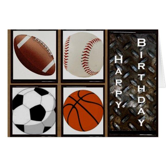 Cumpleaños de los deportes tarjeta de felicitación