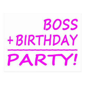 Cumpleaños de los jefes: Boss + Cumpleaños = fiest Tarjetas Postales