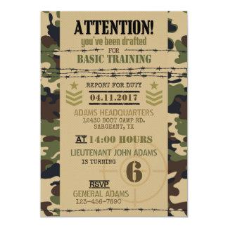 Cumpleaños de los militares del camuflaje del invitación 12,7 x 17,8 cm