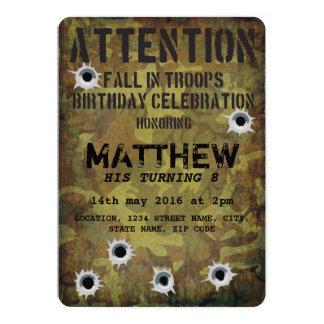 Cumpleaños de los niños de los agujeros de bala invitación 12,7 x 17,8 cm