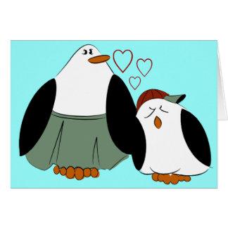 Cumpleaños de los pingüinos del hijo de la madre tarjeta de felicitación