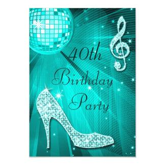 Cumpleaños de los talones de la bola de discoteca invitación 12,7 x 17,8 cm