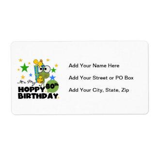 Cumpleaños de lúpulo de Froggie 80.o Etiquetas De Envío
