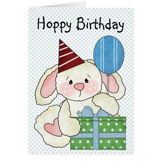 Cumpleaños de lúpulo del conejito lindo tarjeta