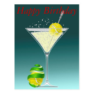 Cumpleaños de Martini del tenis feliz Postal