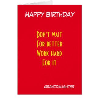 cumpleaños de motivación de la nieta tarjeta de felicitación
