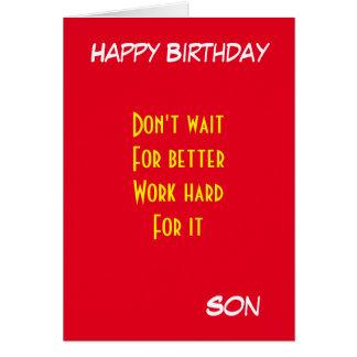 cumpleaños de motivación del hijo tarjeta de felicitación