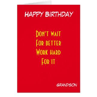 cumpleaños de motivación del nieto tarjeta de felicitación