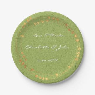Cumpleaños de oro verde oliva del boda del corazón plato de papel