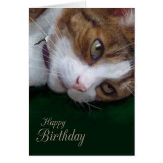 Cumpleaños de Personalizable del gato de Tabby del Tarjeta De Felicitación