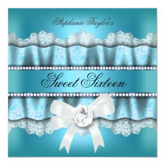 Cumpleaños de plata azul del dulce 16 del dulce invitación personalizada