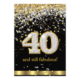 Cumpleaños de plata B de las flámulas 40.as 40 del Invitación 12,7 X 17,8 Cm