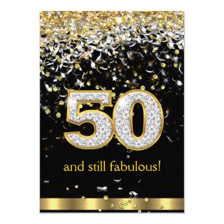 Cumpleaños de plata B de las flámulas 50.as 50 del Invitación 12,7 X 17,8 Cm