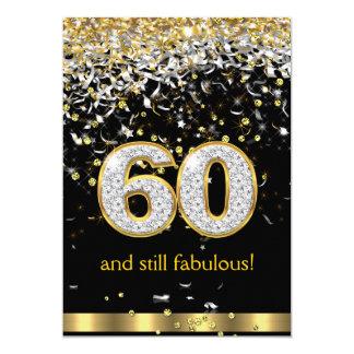Cumpleaños de plata B de las flámulas 60.as 60 del Invitación 12,7 X 17,8 Cm