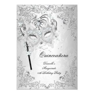 Cumpleaños de plata de Quinceanera de la mascarada Invitación 12,7 X 17,8 Cm