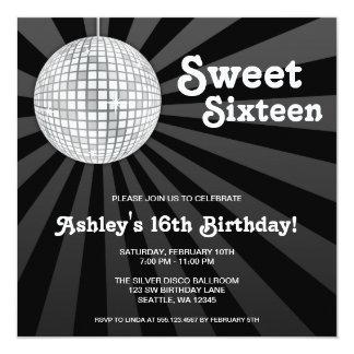 Cumpleaños de plata del dulce 16 de la bola de invitación 13,3 cm x 13,3cm