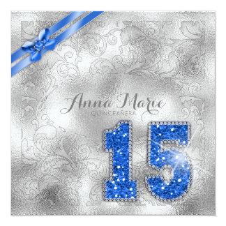 Cumpleaños de plata ID382 azul de Quinceanera del Invitación 13,3 Cm X 13,3cm