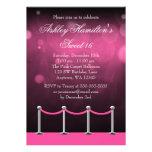 Cumpleaños de plata rosado del dulce 16 de Hollywo Comunicado Personalizado