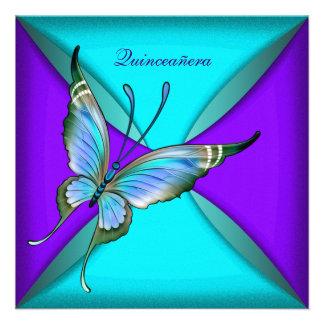 Cumpleaños de Quinceanera de la mariposa azul del Invitación