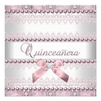 Cumpleaños de Quinceanera de la perla blanca rosad Invitacion Personal