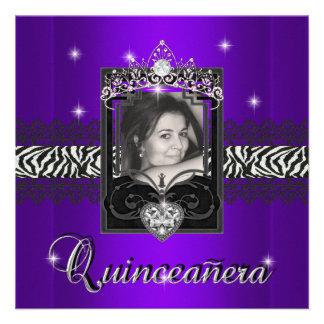 Cumpleaños de Quinceanera del brillo púrpura de la Invitaciones Personales