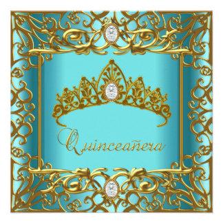 Cumpleaños de Quinceanera del oro azul de la tiara Invitaciones Personales