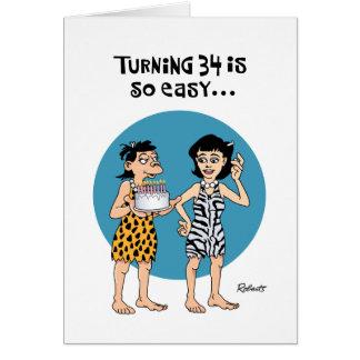 Cumpleaños de torneado 34 tarjeta de felicitación