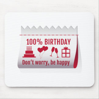 cumpleaños del 100%, etiqueta de la tela, diseño d tapetes de ratón