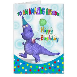 Cumpleaños del ahijado con la bebida púrpura y tarjeta de felicitación