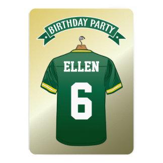 Cumpleaños del amarillo del verde del jersey del invitación 12,7 x 17,8 cm