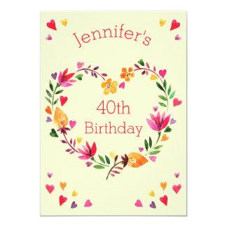 Cumpleaños del amor de la acuarela 40.o de la invitación 12,7 x 17,8 cm