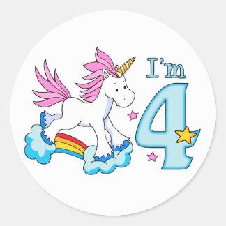 Cumpleaños del arco iris del unicornio 4to pegatina redonda