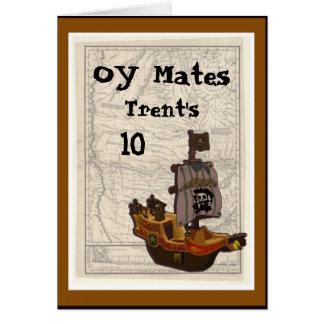 Cumpleaños del barco y del mapa del pirata tarjeta de felicitación
