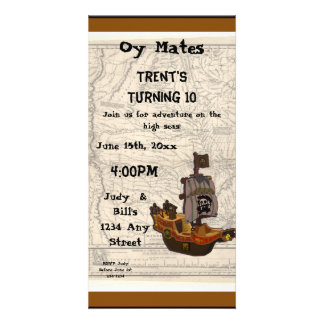 Cumpleaños del barco y del mapa del pirata plantilla para tarjeta de foto